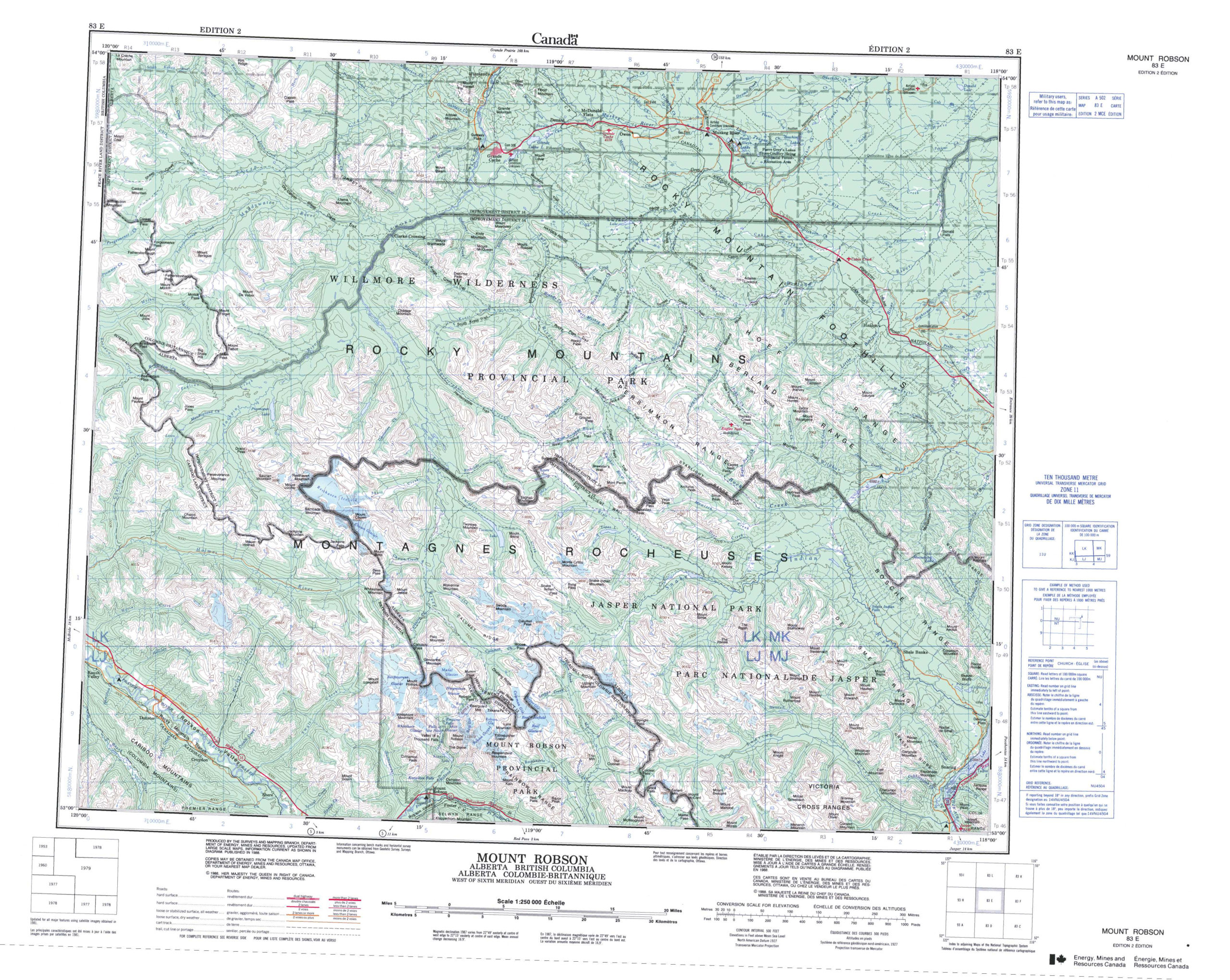 Printable Topographic Map Of Mount Robson 083E AB