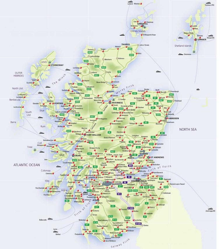 Roadmap Of Scotland Scotland Info Guide