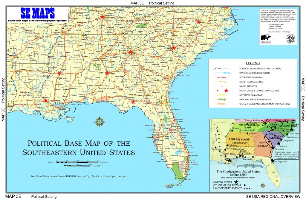 Southeastern United States Atlas Wall Map Maps