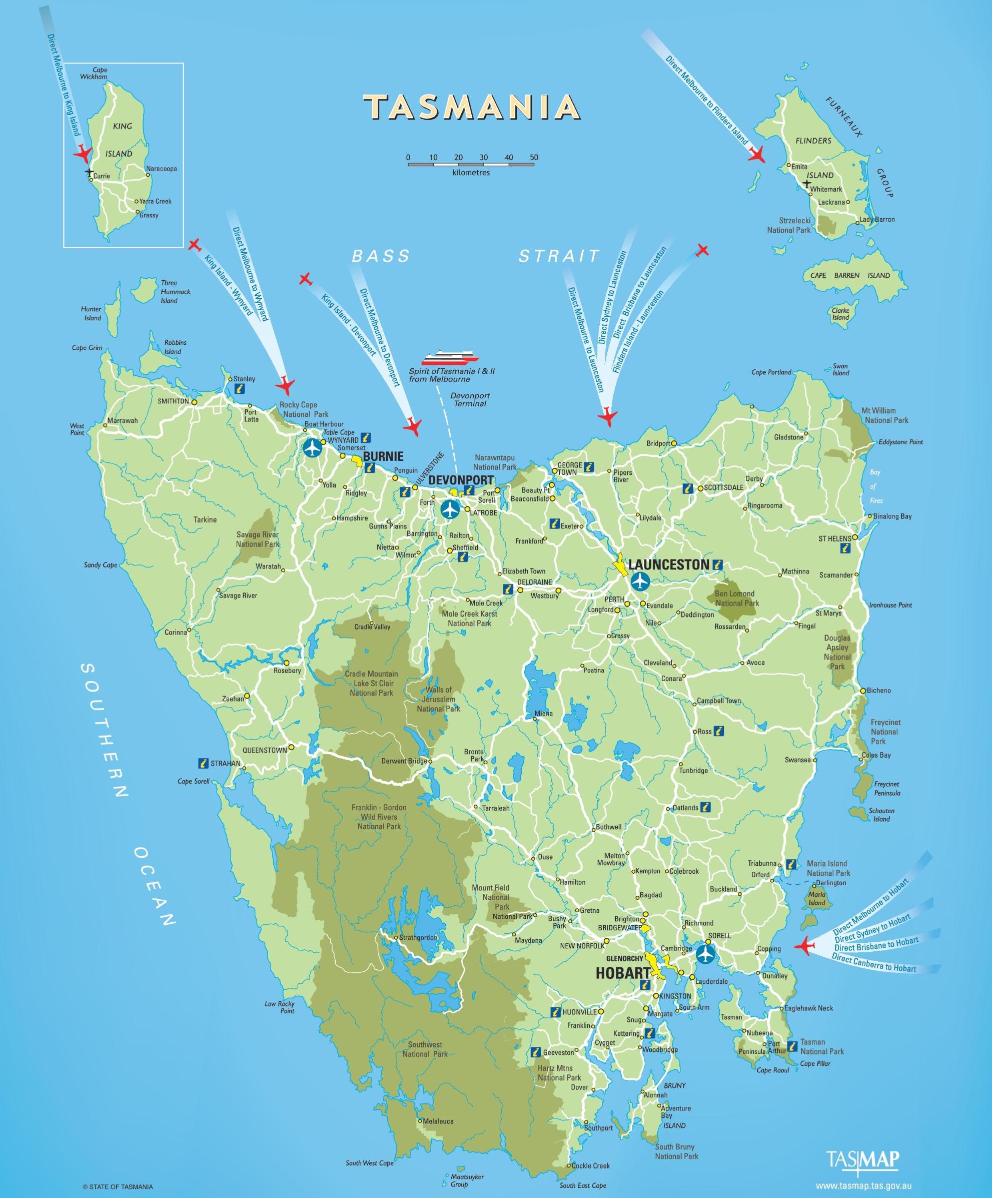 Tasmania Travel Map