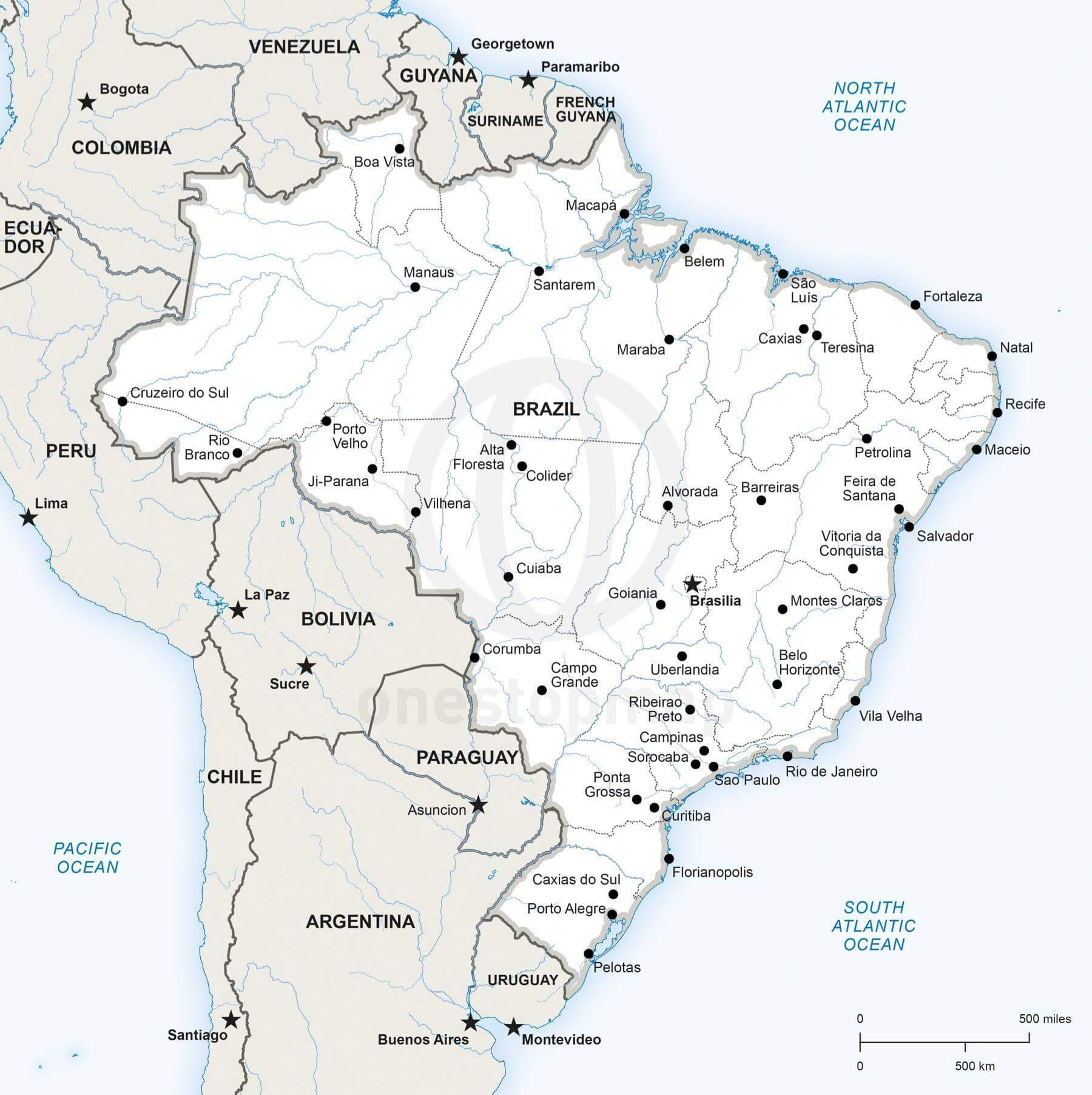 Vector Map Of Brazil Political One Stop Map