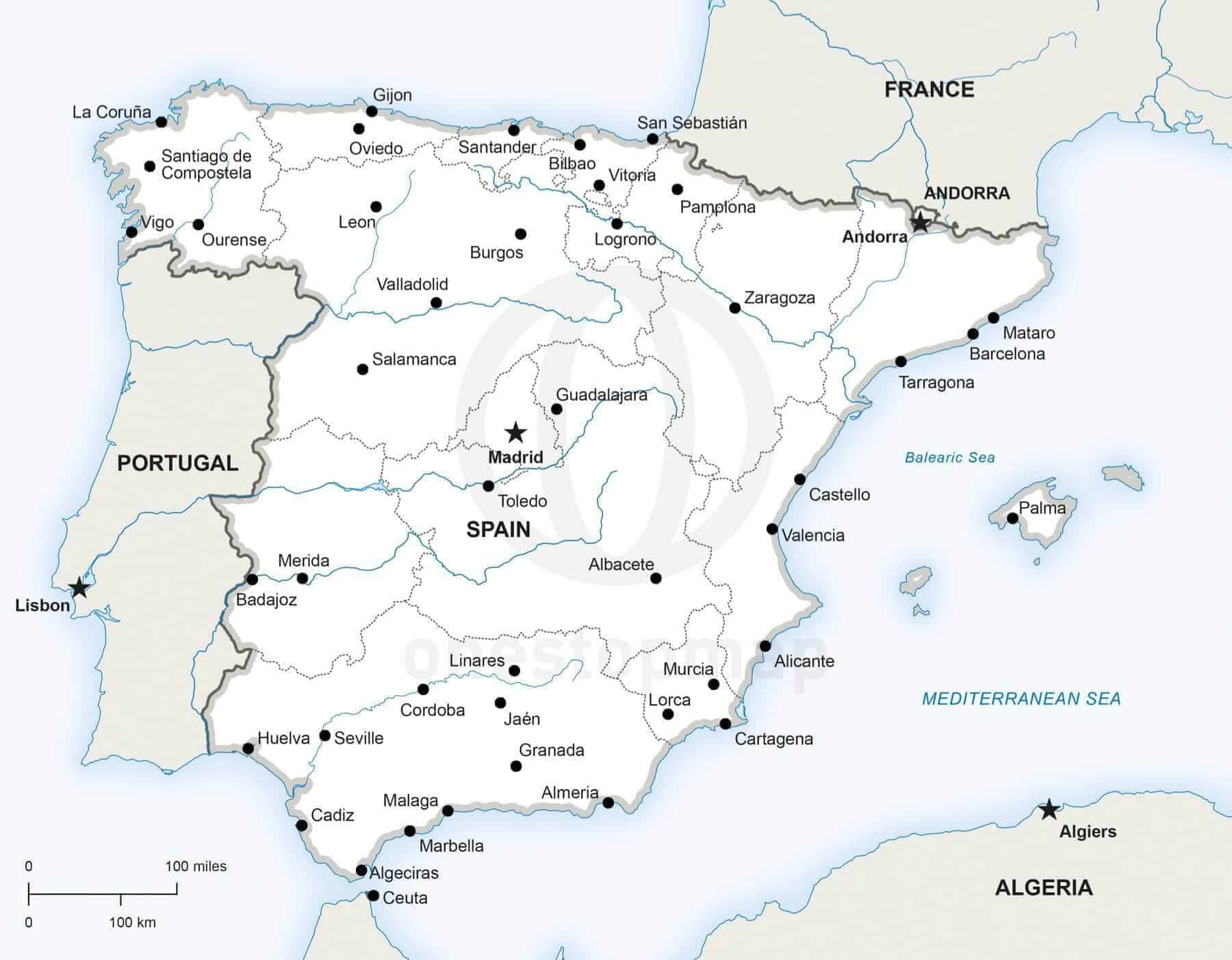 Vector Map Of Spain Political One Stop Map