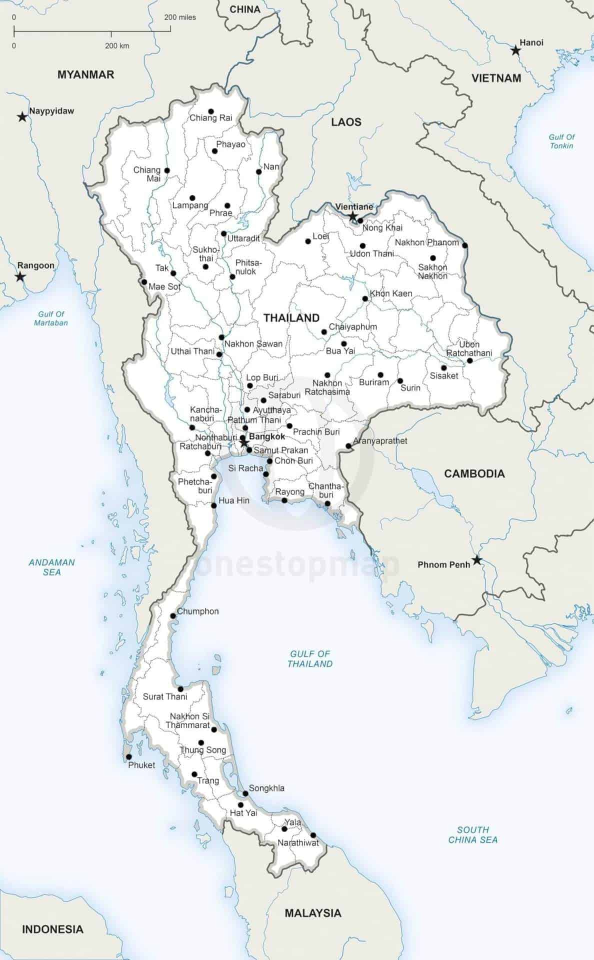 Vector Map Of Thailand Political One Stop Map