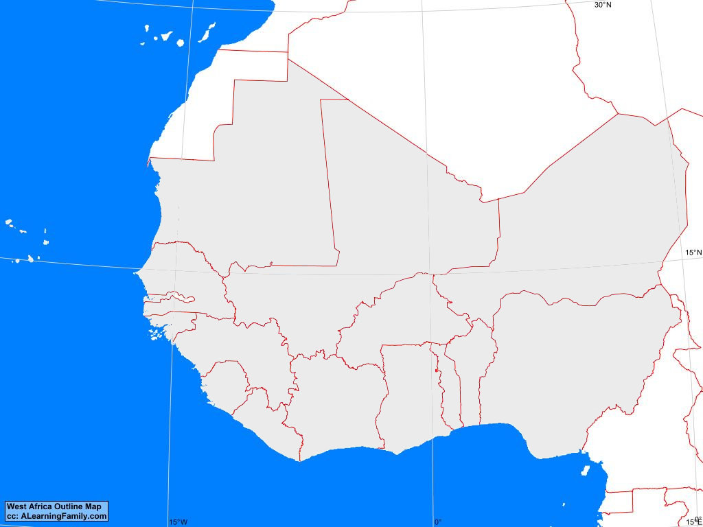 West Africa Outline Map A Learning Family