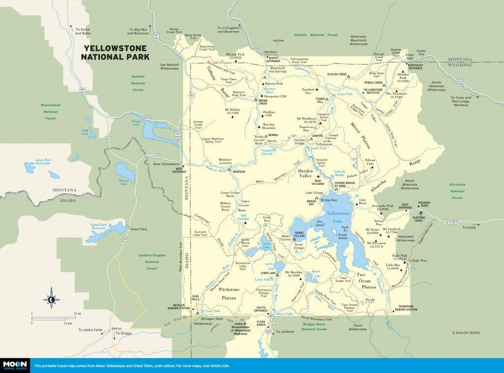 Wyoming Yellowstone Map Yellowstone Park Yellowstone