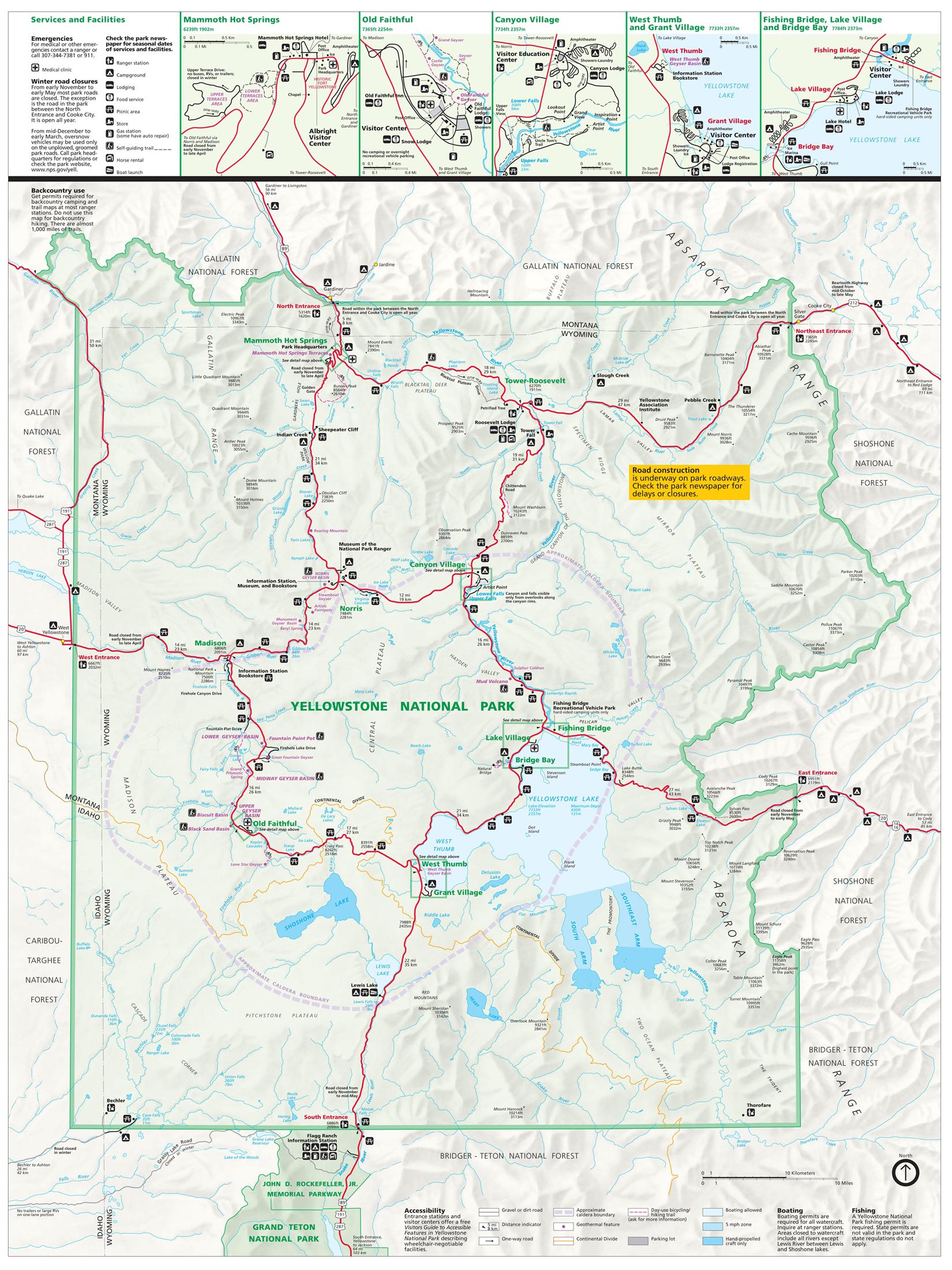 Yellowstone National Park Tourist Map Yellowstone Up