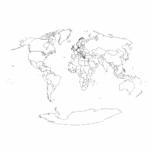 10 Best Black And White World Map Printable Printablee