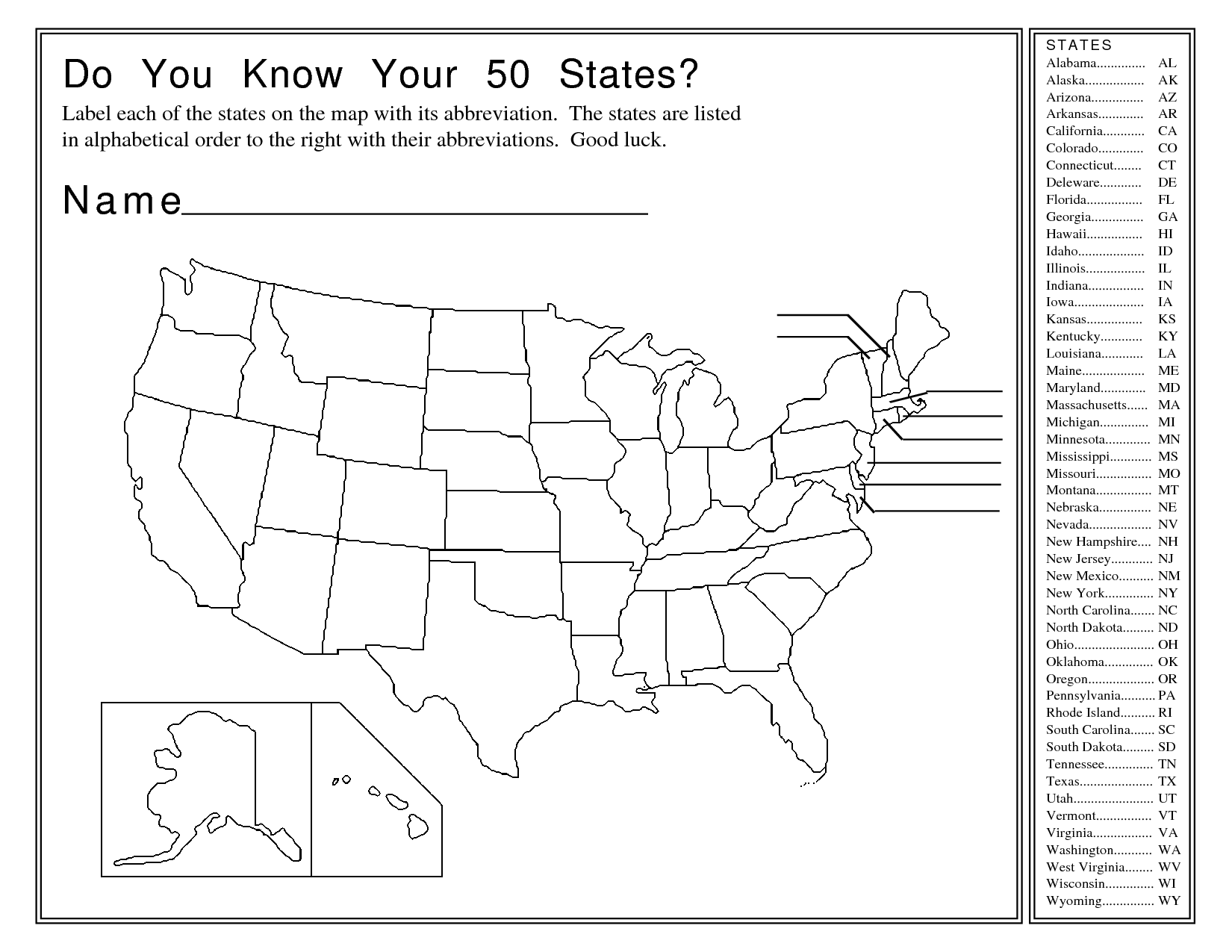 13 Best Images Of Fifty States Worksheets Blank