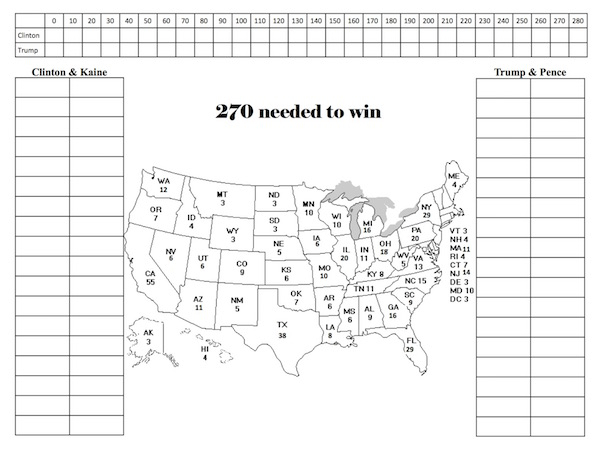 2016 Printable Electoral College Map Fill In Version By