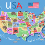 50 States Usa Map United States Map Colorful Map