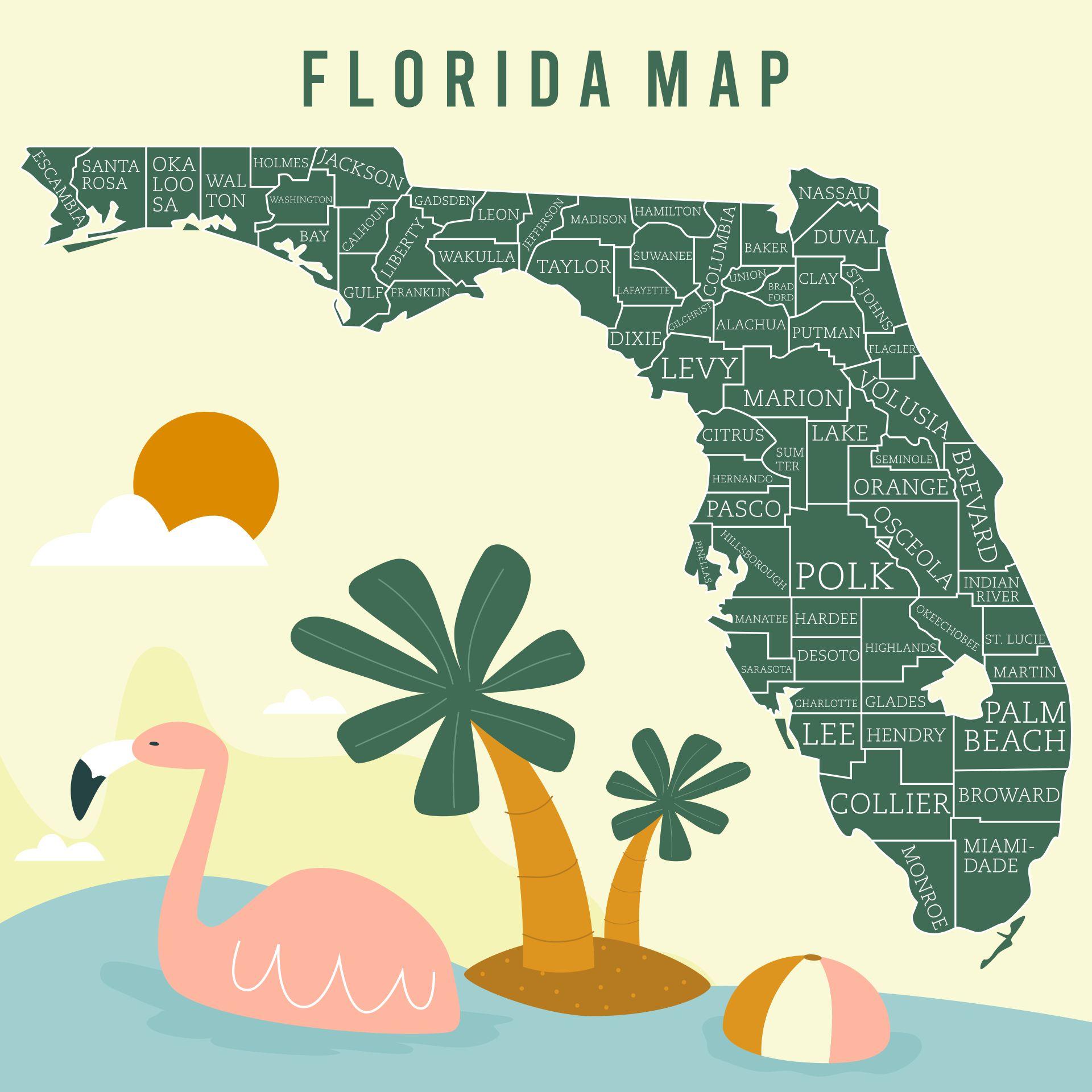6 Best Florida State Map Printable Printablee