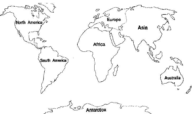 7 Continents Coloring Pages World Map Printable World