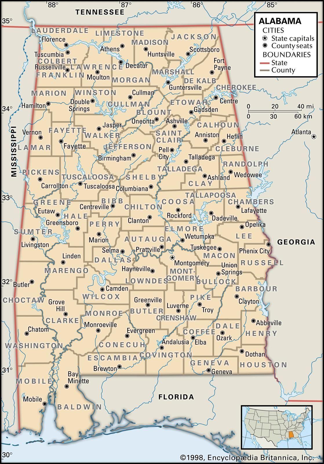 Alabama Maps And Atlases Map Alabama Political Map