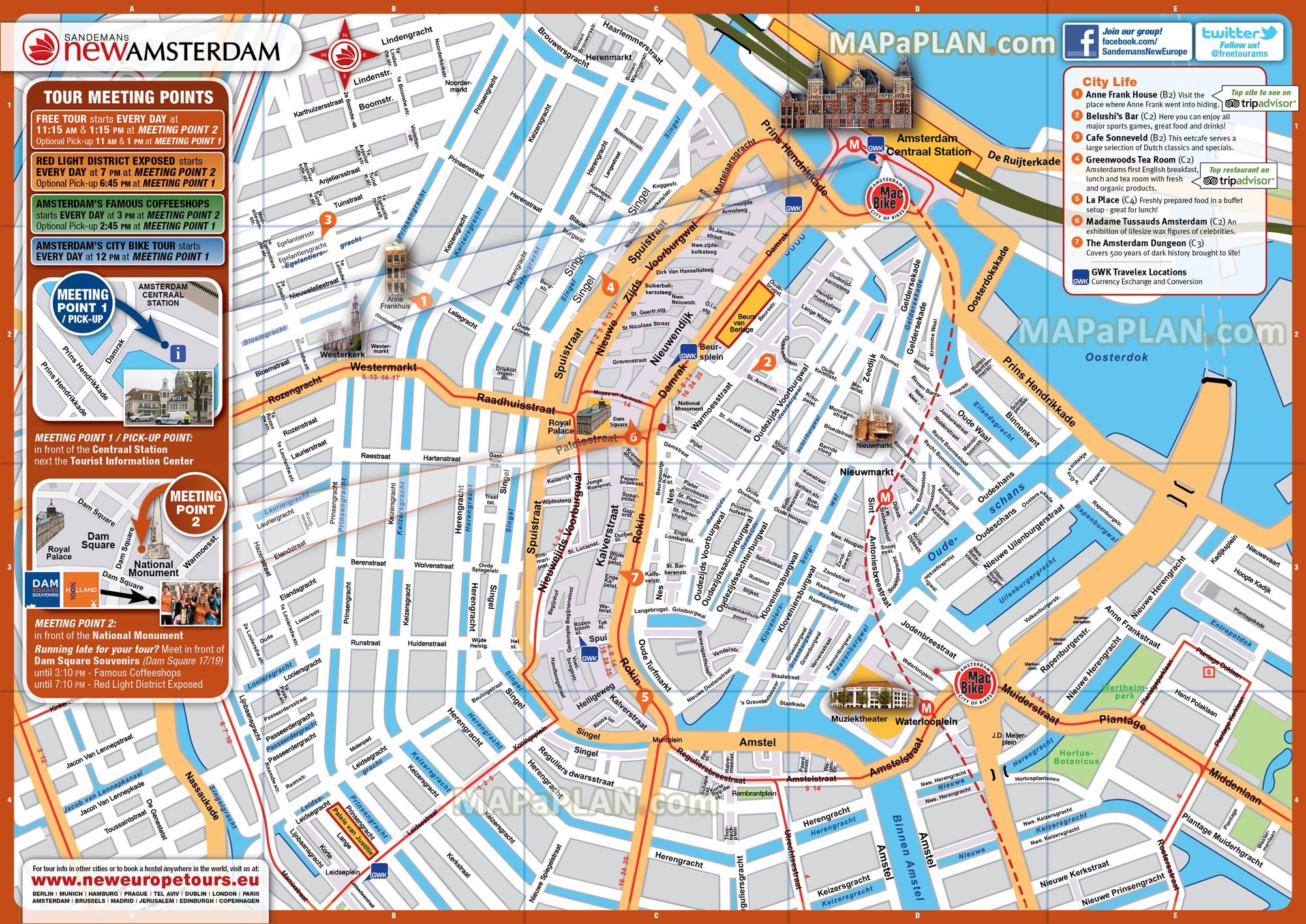 Amsterdam Maps Top Tourist Attractions Free Printable City