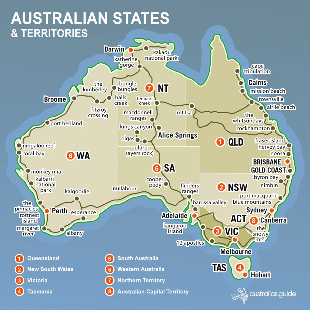 Australian States And Territories Map Printable Map