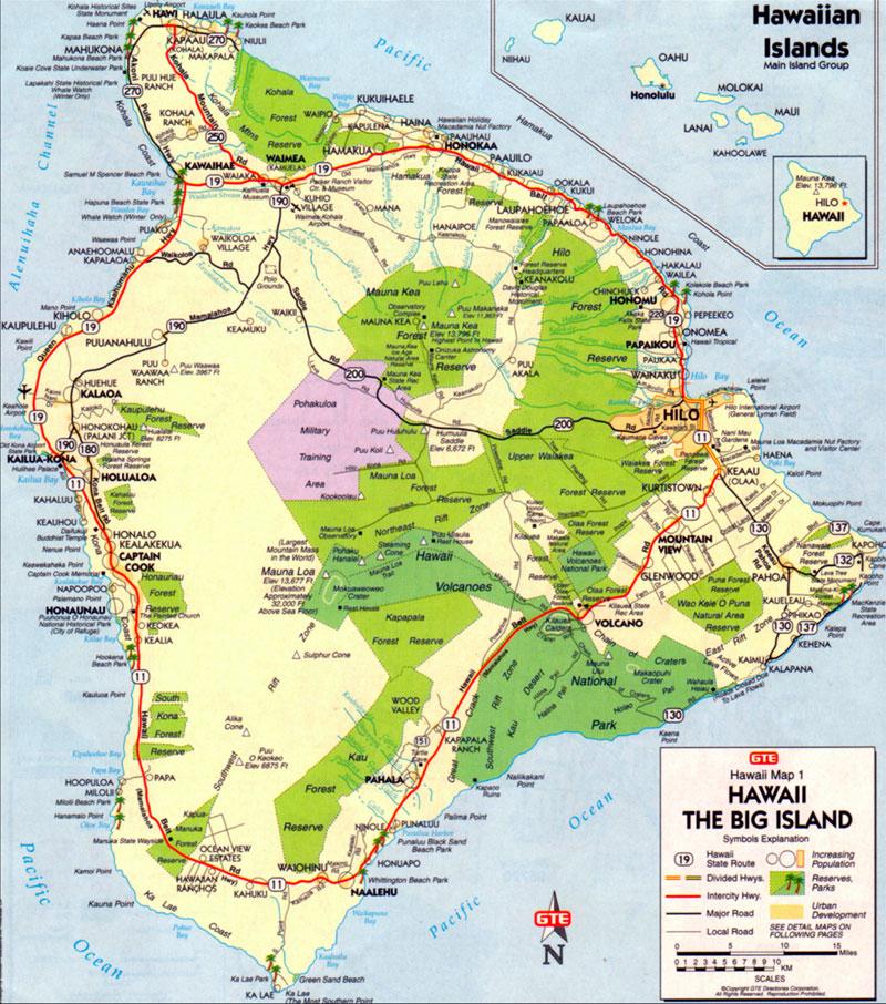 Big Island Hawaii Map Free Printable Maps