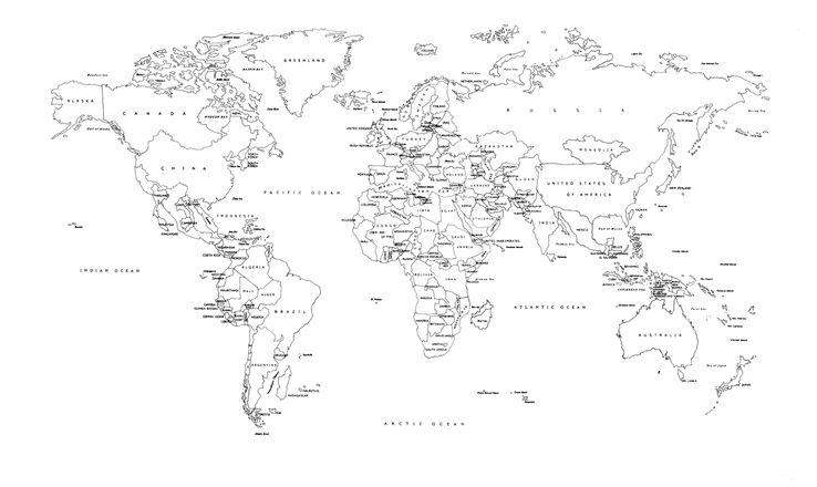 Black and White World Map Labeled Countries World Map