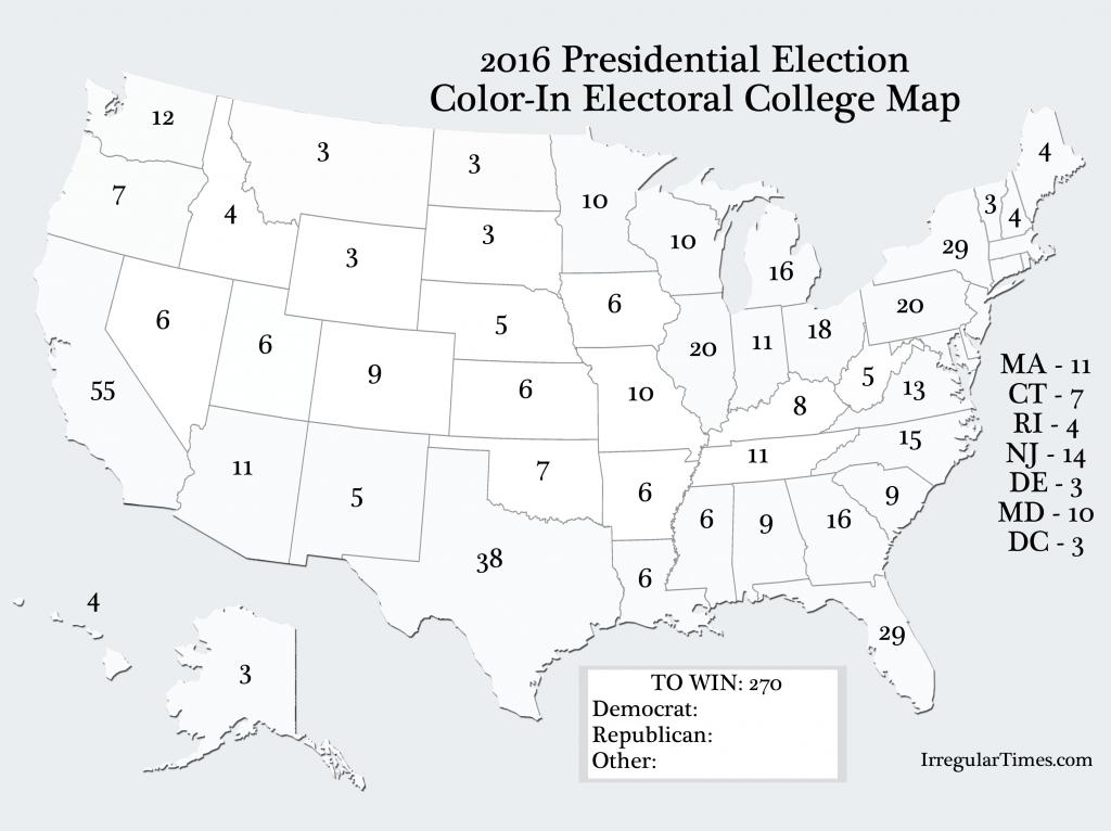 Blank Electoral College Map 2016 Printable Printable Maps