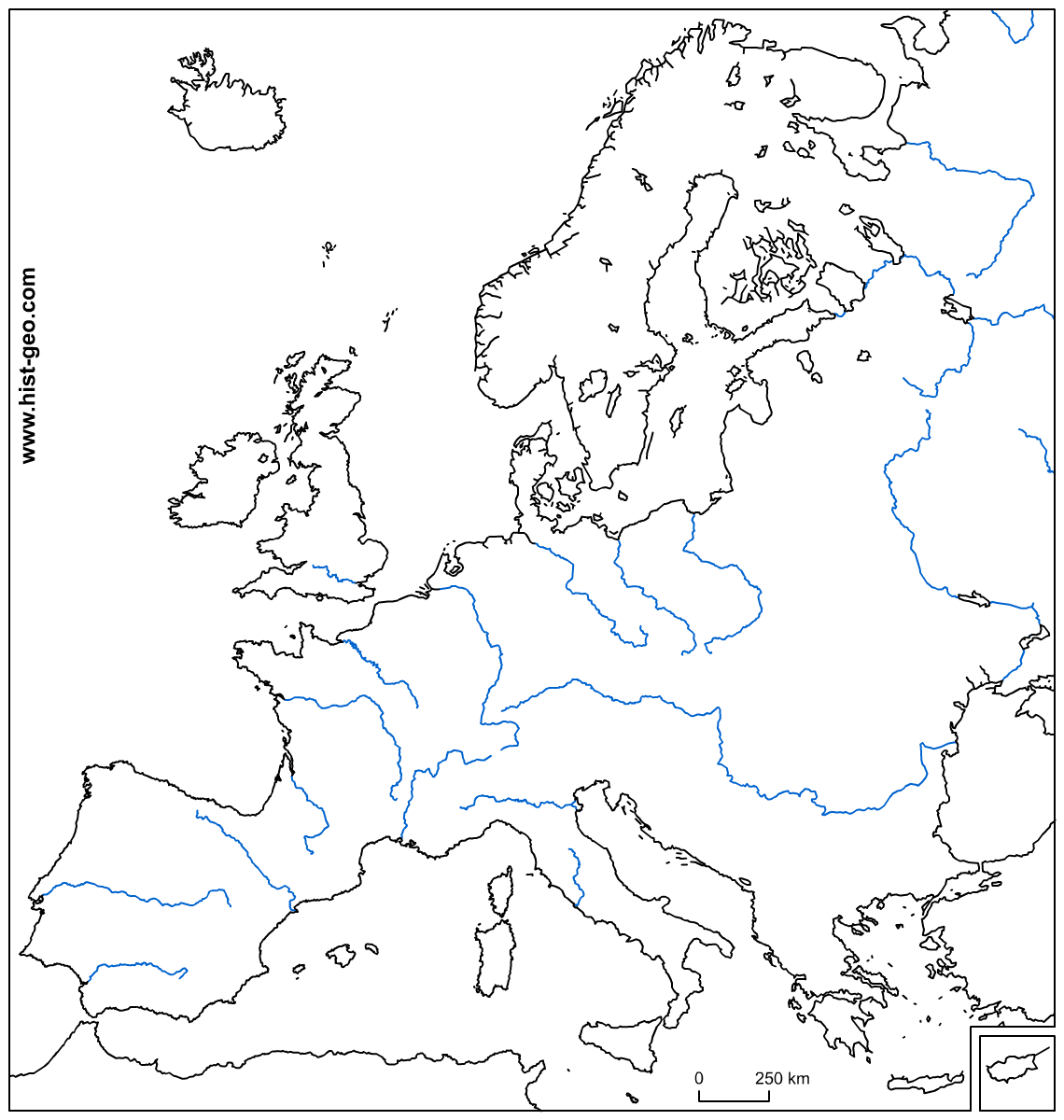 Blank Map Europe Physical Features