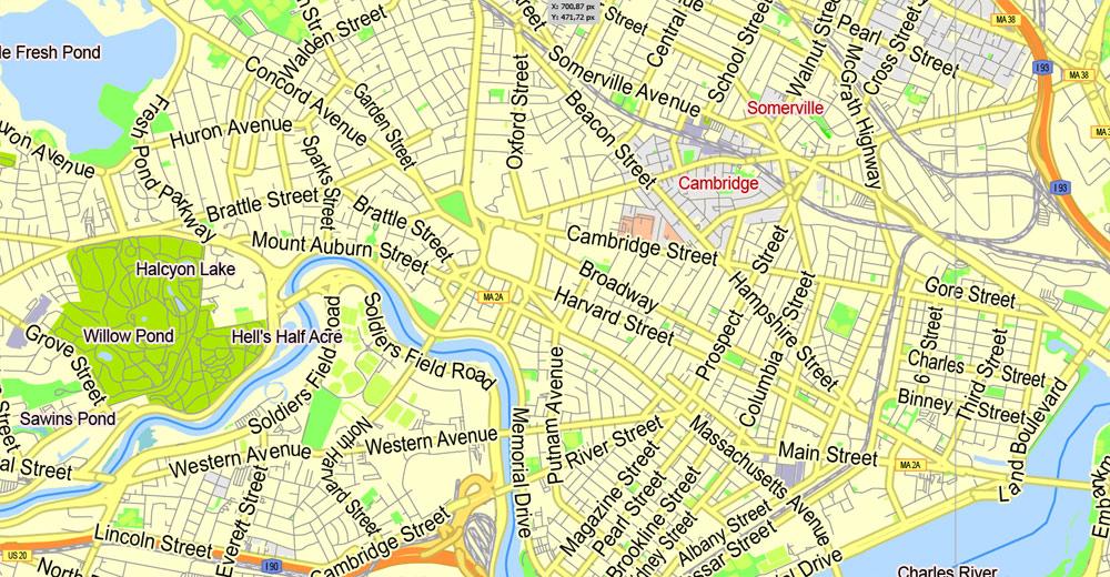 Boston Printable Map Massachusetts US Exact Vector