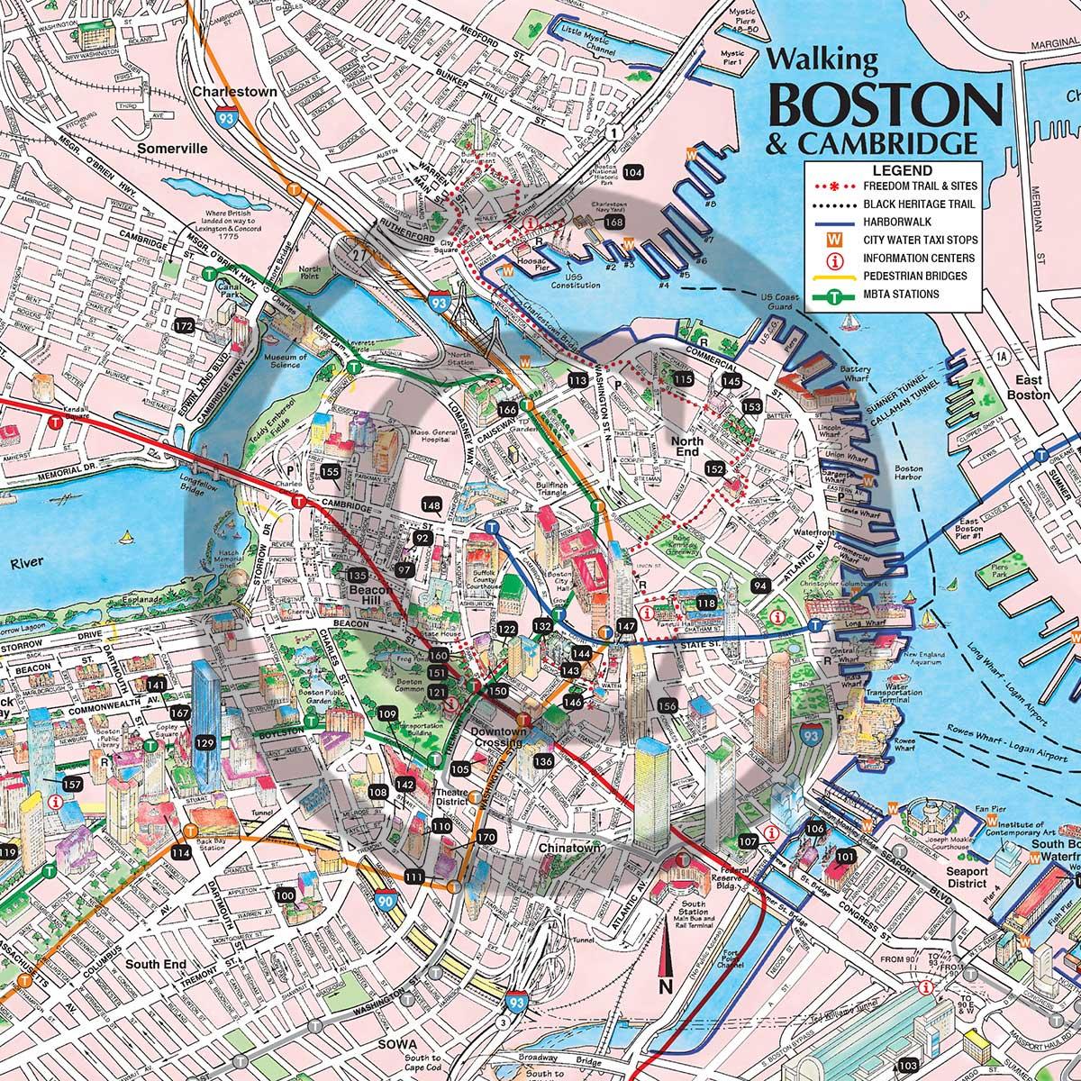 Buy Boston Walking Driving Maps Online Boston Tourist Maps