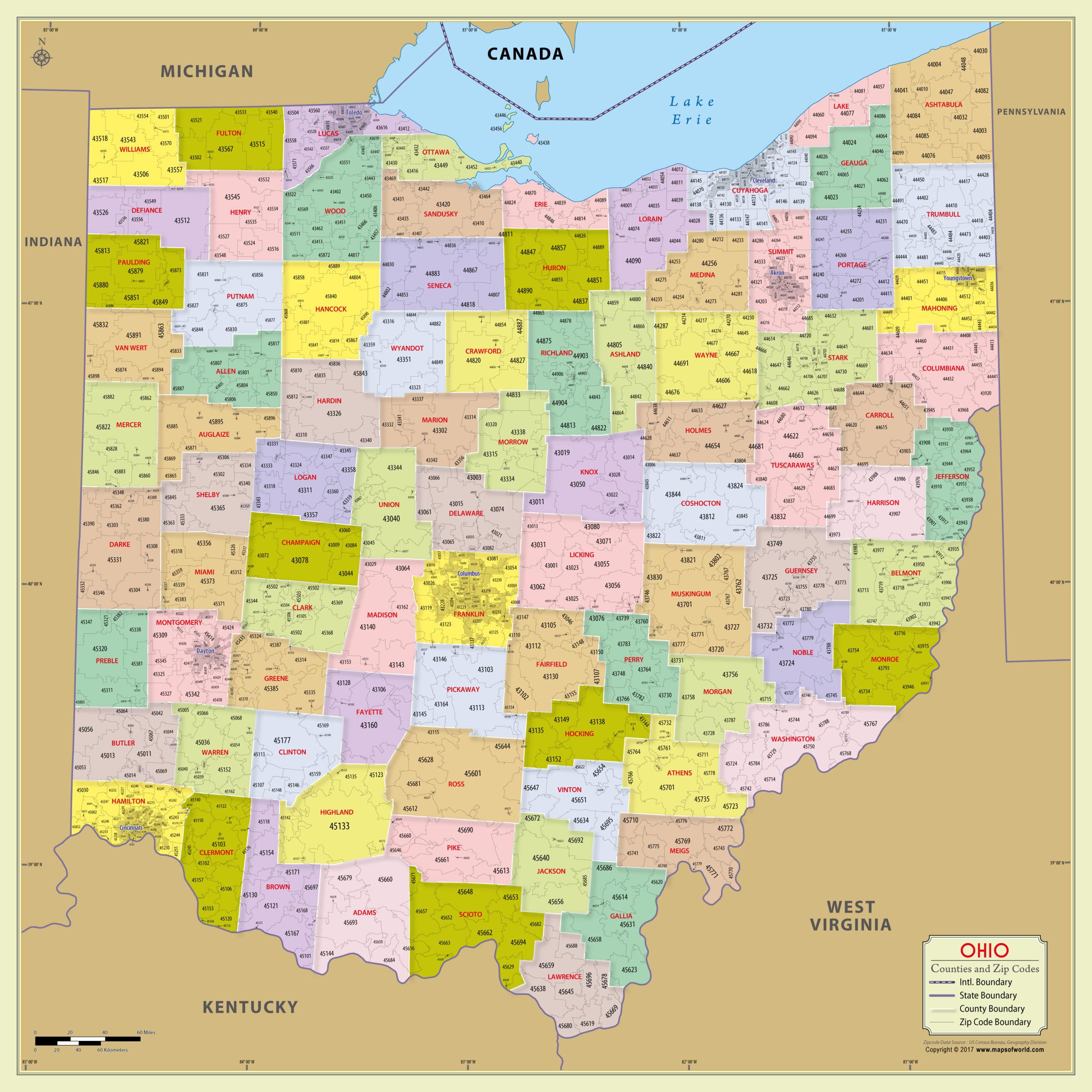Buy Ohio Zip Code Map With Counties