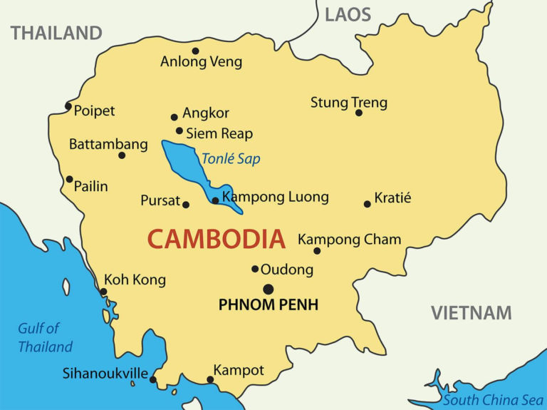Cambodia City Map Cambodia Cities Map South Eastern