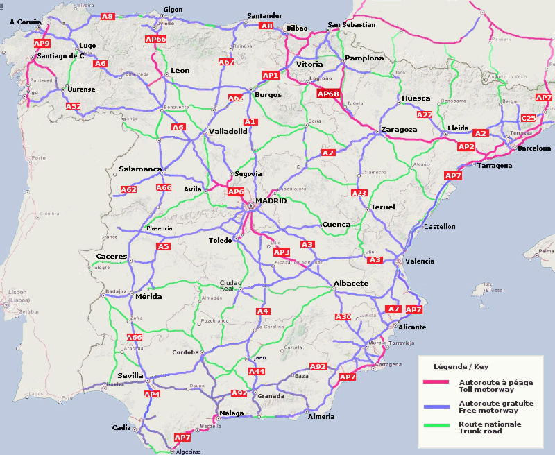 Carte Des Routes Et Autoroutes D Espagne