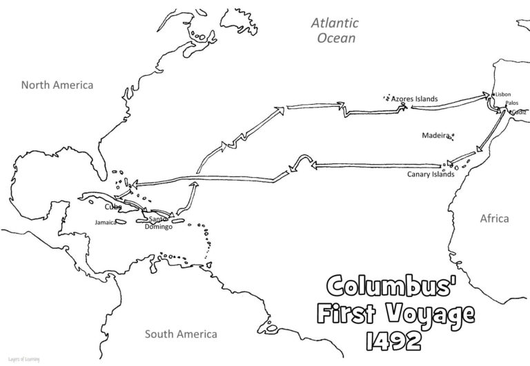 Christopher Columbus Coloring Page Map Google Search