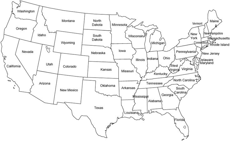 Contiguous United States Black And White Outline Map Us