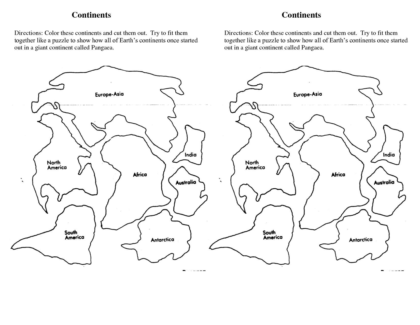 Continents DOC World Map Printable World Map Coloring