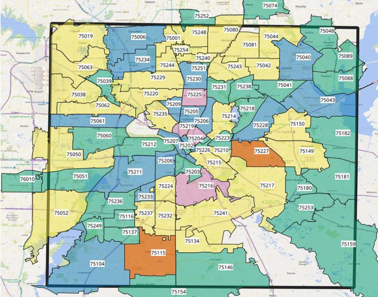 Dallas County Zip Code Map Map Of Zip Codes