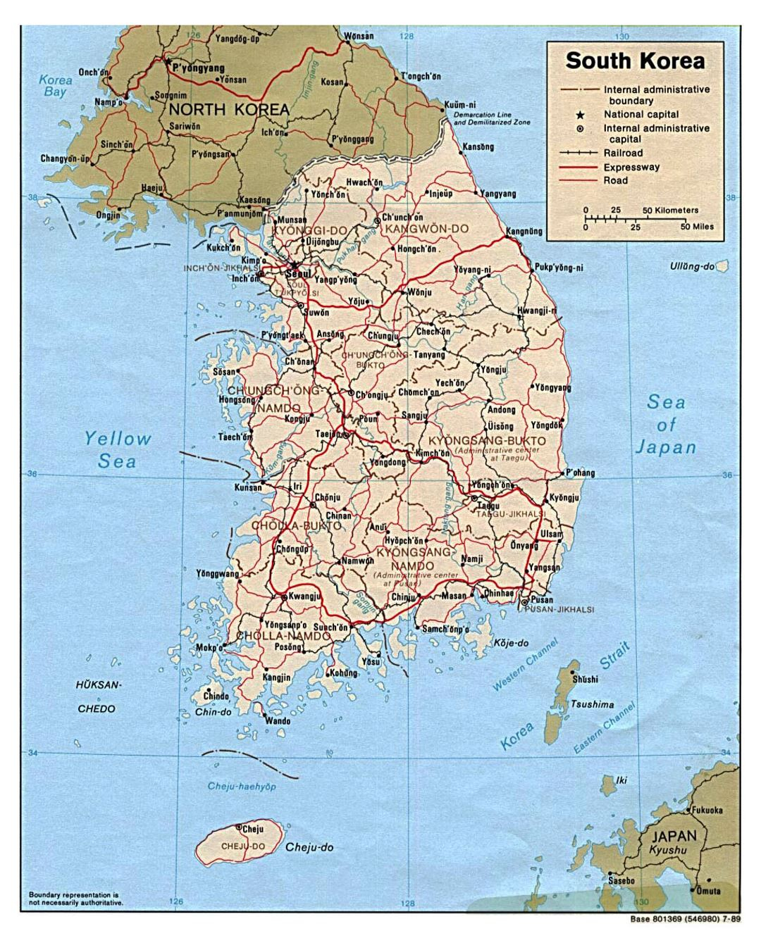 Detailed Political And Administrative Map Of South Korea