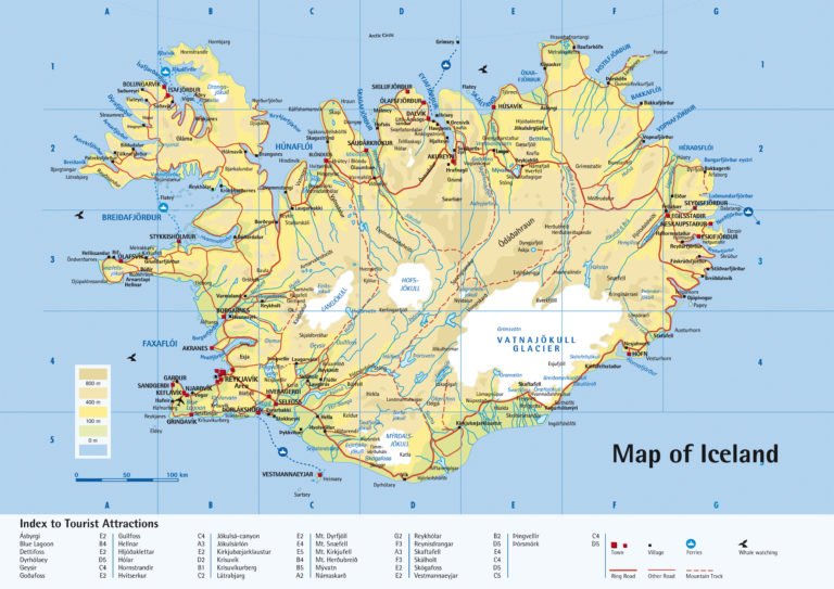 Detailed Road Map Of Iceland Iceand Detailed Road Map