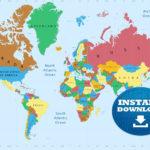 Digital Colorful World Map Printable Download Weltkarte