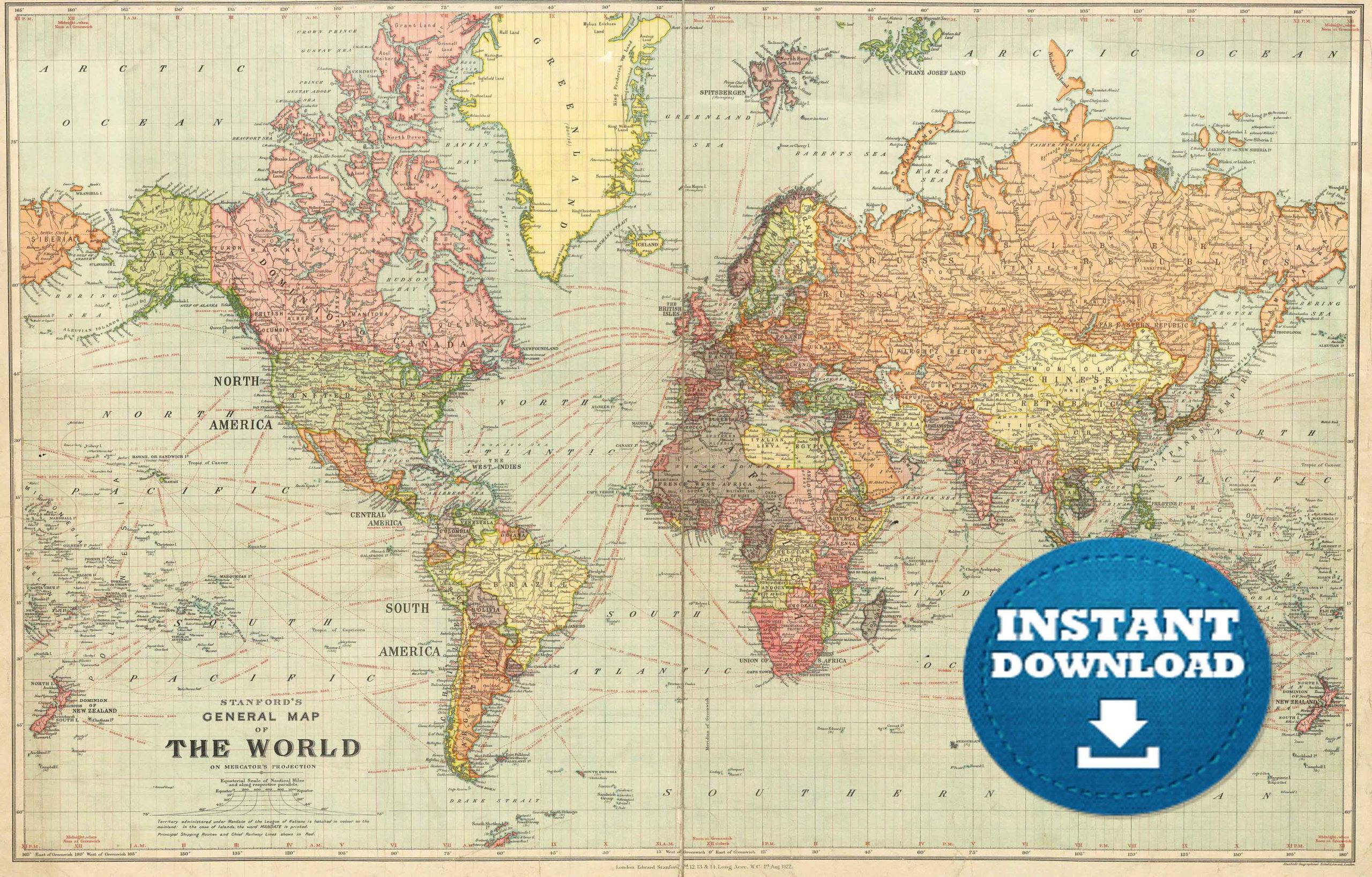 Digital Old World Map Printable Download Vintage World