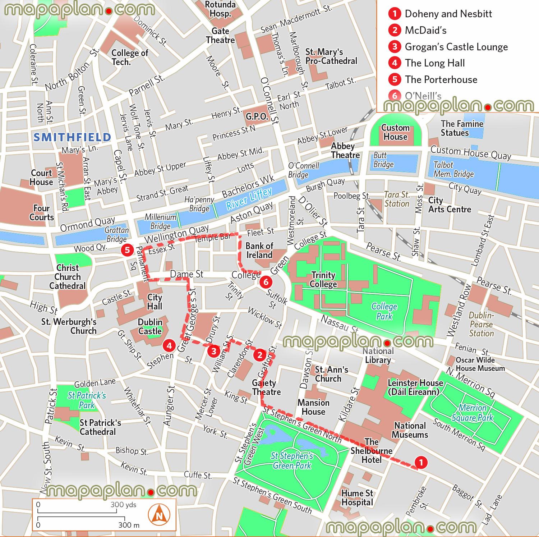 Dublin City Map Tourist Fashion Design Images