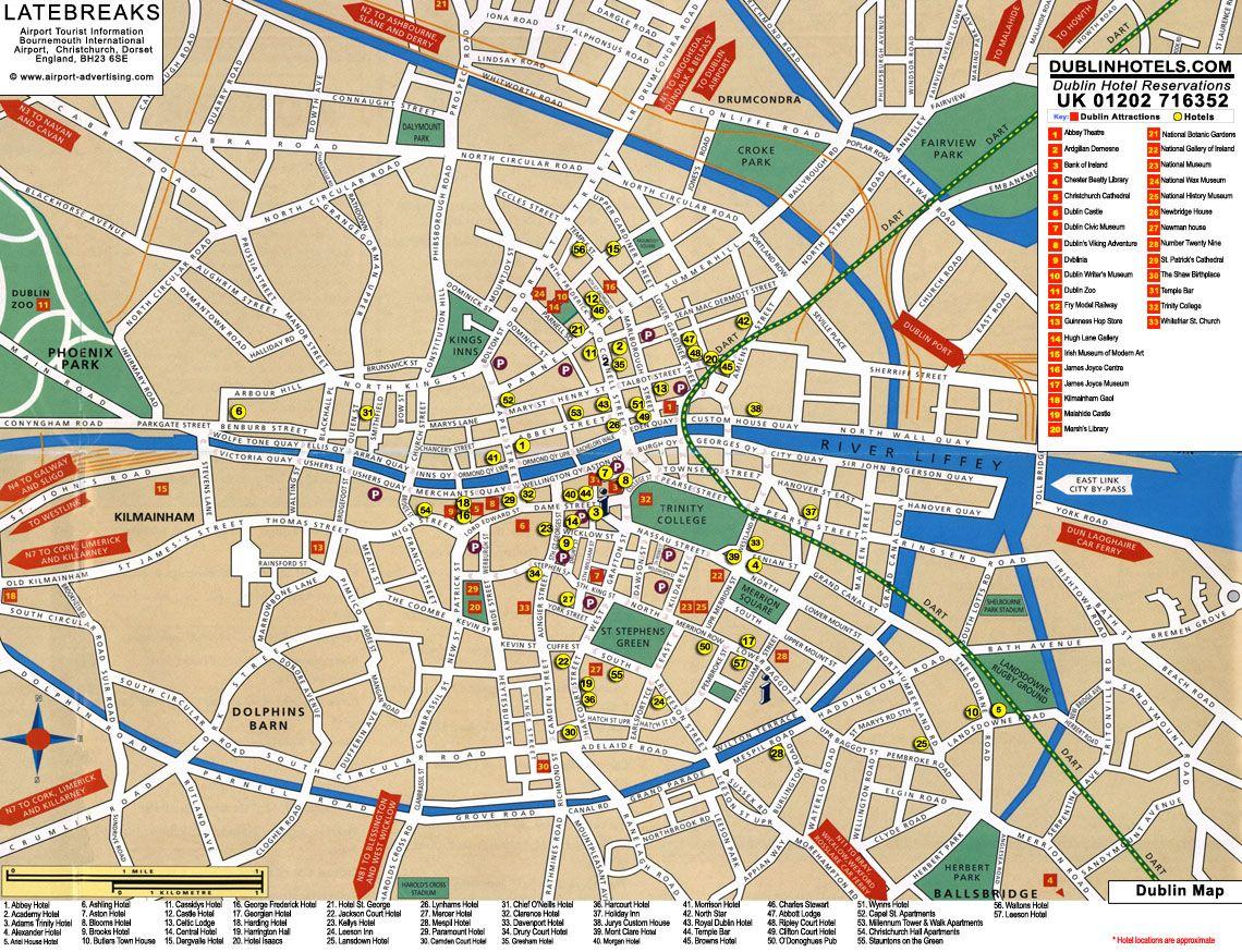 Dublin Tourist Map Dublin Ireland Mappery Dublin
