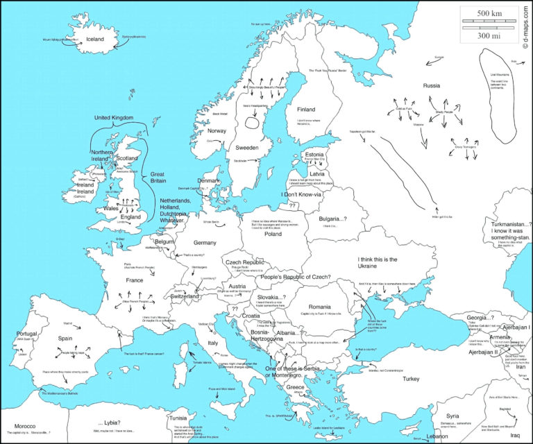 Europe Map And Satellite Image Printable Map Of Europe