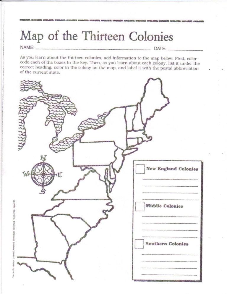 Free Printable 13 Colonies Map 13 Colonies Map