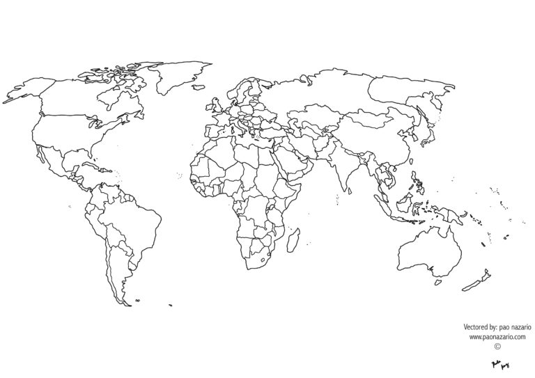 Free Printable Black And White World Map With Countries