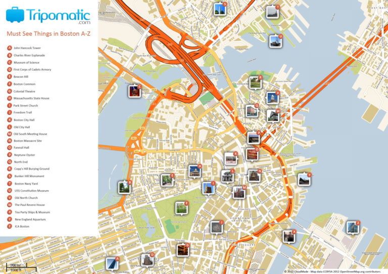 Free Printable Map Of Boston MA Attractions See