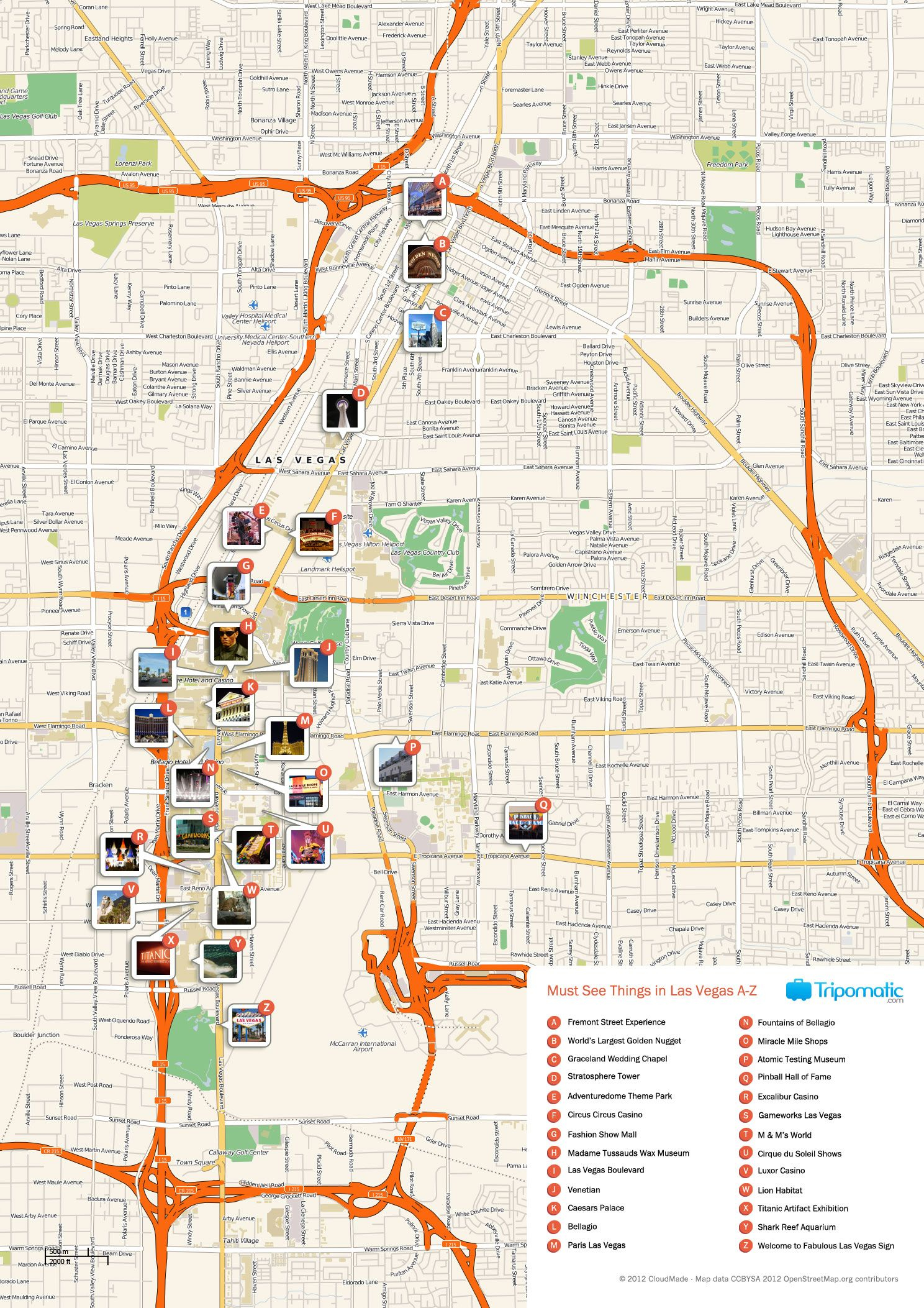 Free Printable Map Of Las Vegas Attractions Vegas