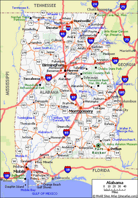 Free Printable Maps State Of Alabama Road Map Print For