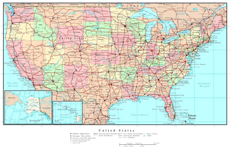 Free Printable Us Highway Map Usa Road Vector For With