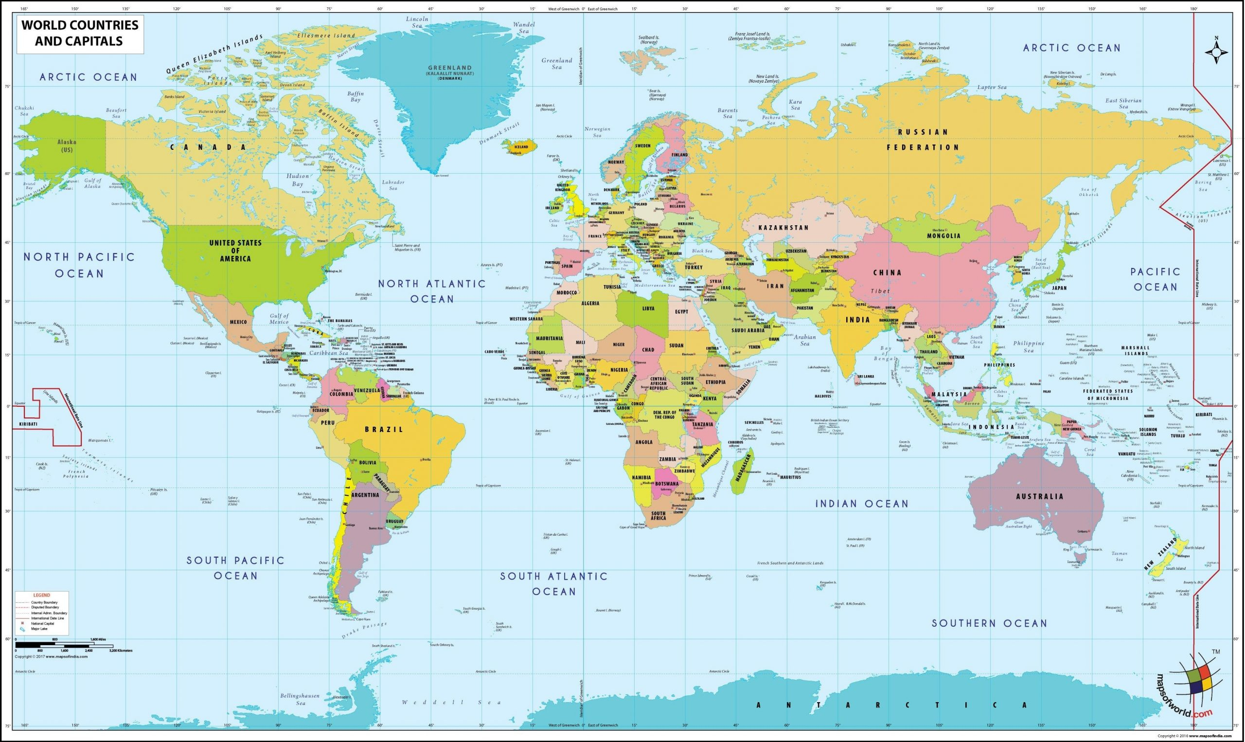 Haritas World Map Political Country And Capitals Free
