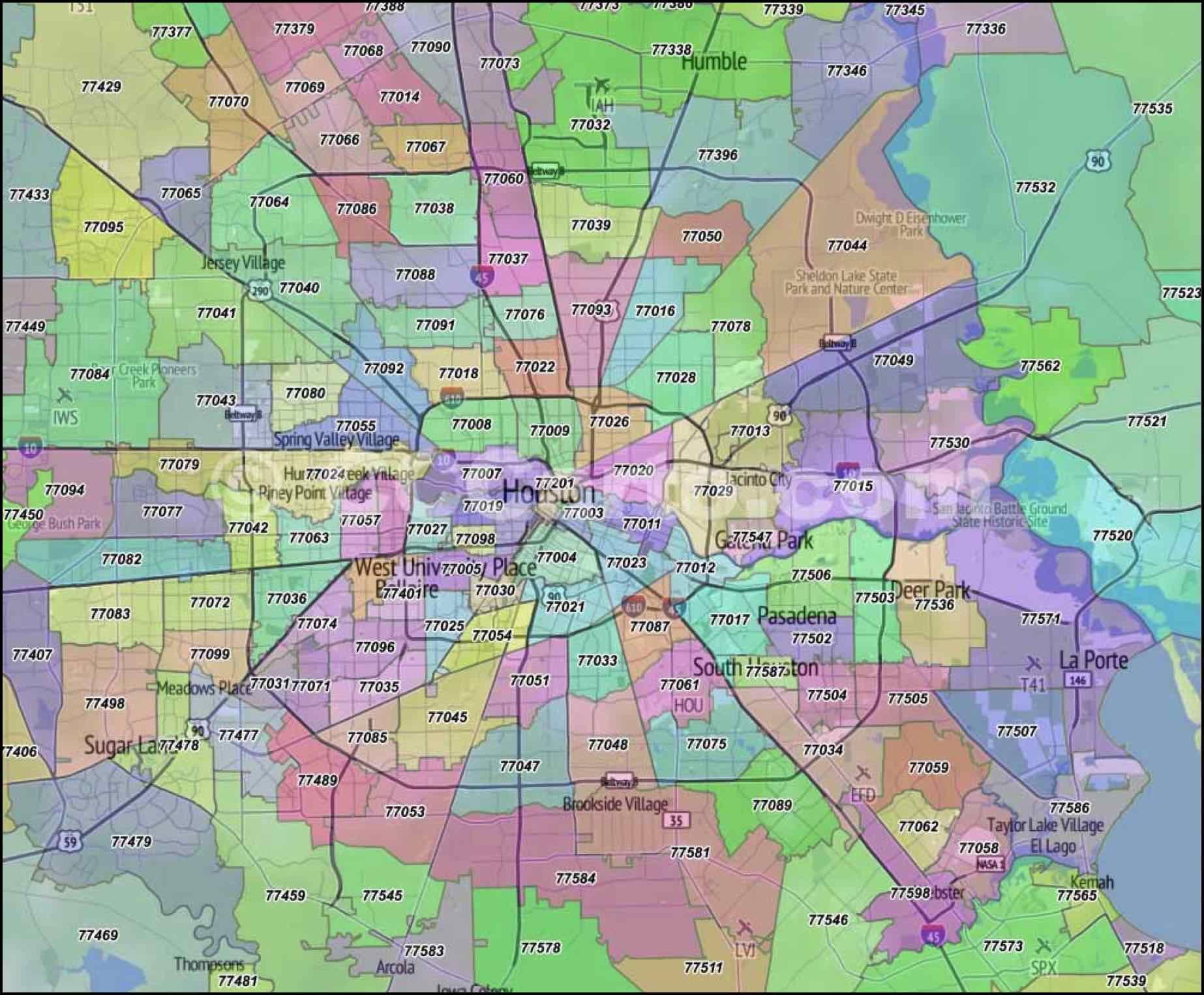 Houston Zip Code Map Houston Zip Code Map Zip Code Map