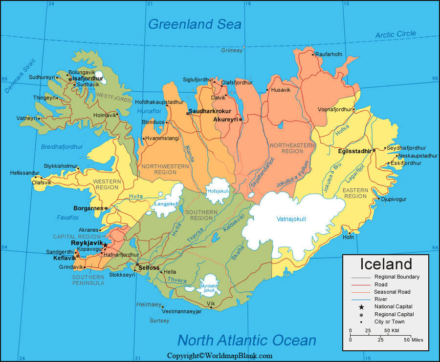 Iceland Labeled Map World Map Blank And Printable