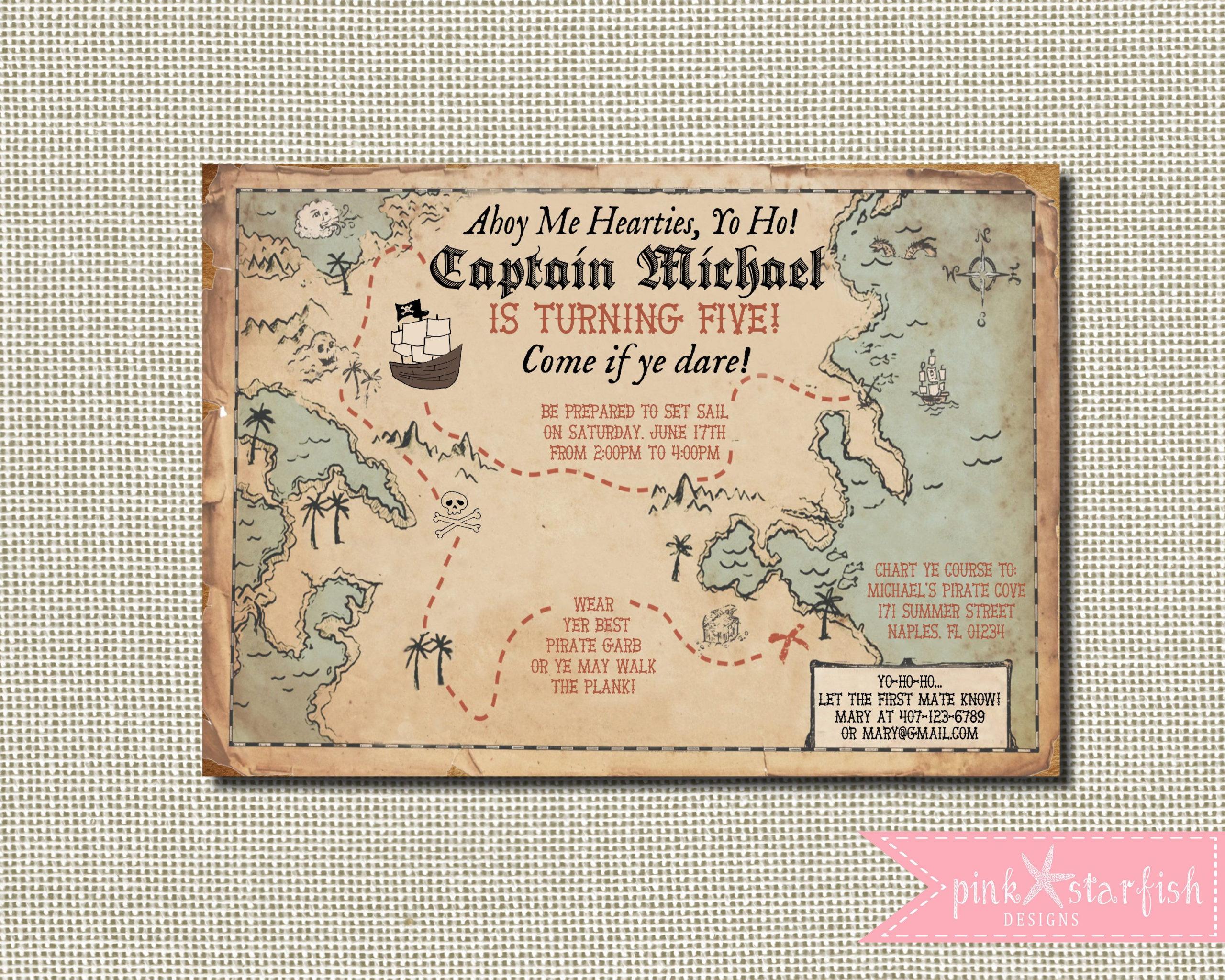 Image Result For Treasure Map Invitation Pirate