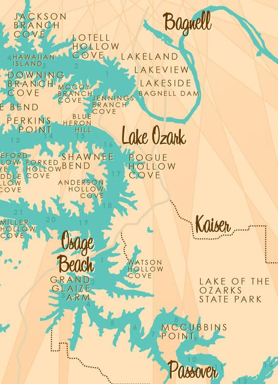 Lake Of The Ozarks MO Map Print With Mile Markers Etsy
